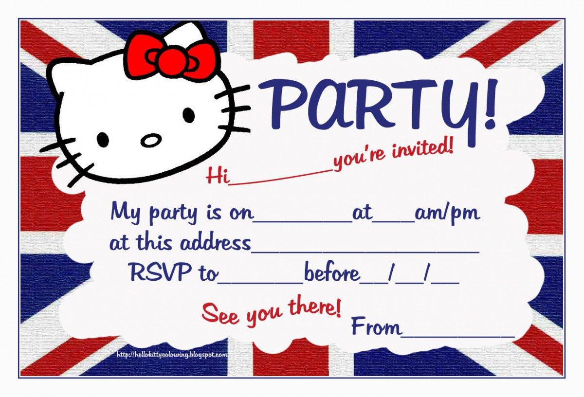 Printable Hello Kitty Birthday Invitations Free 2018