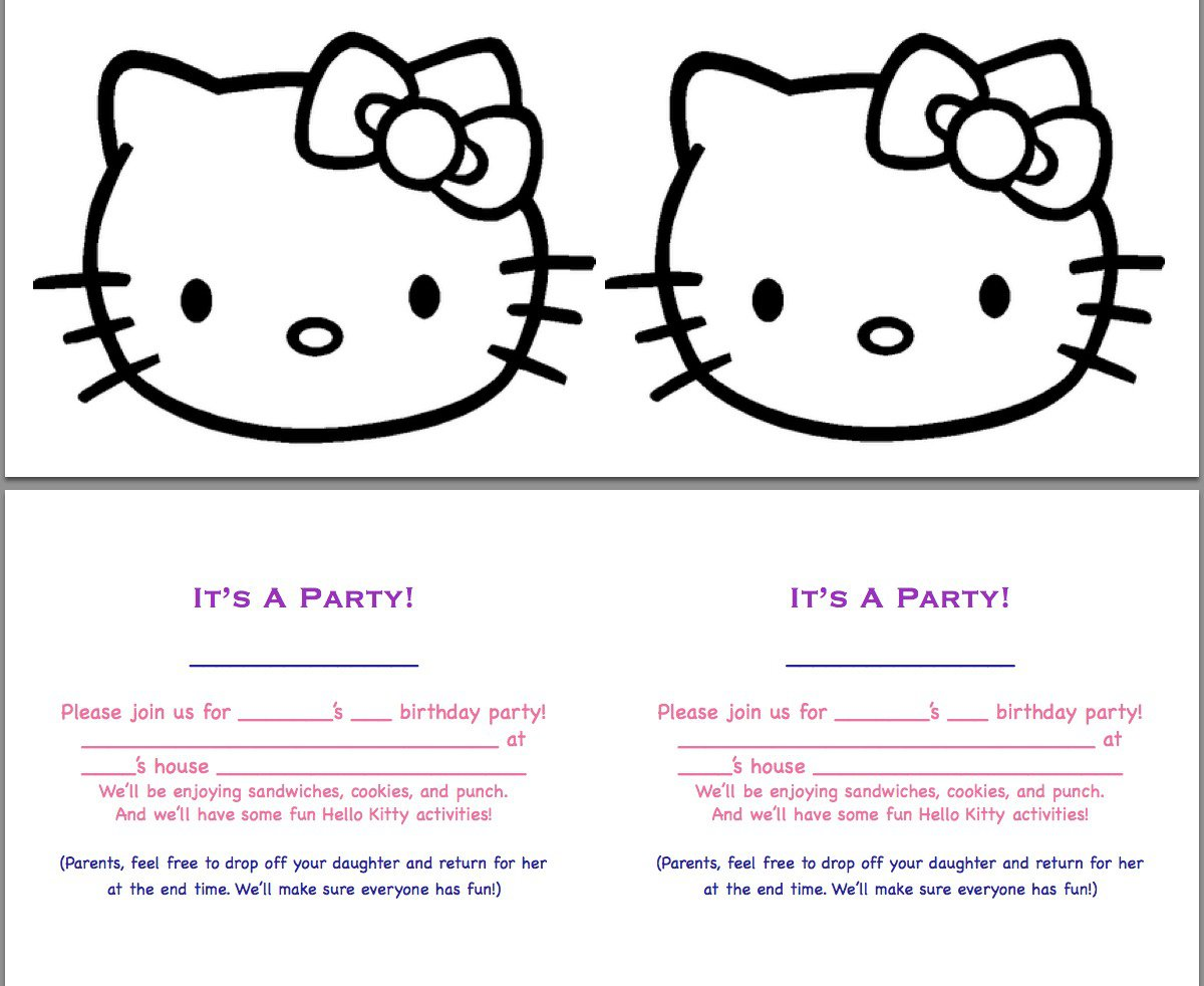 Printable Hello Kitty Birthday Invitations - Free hello kitty birthday invitation templates