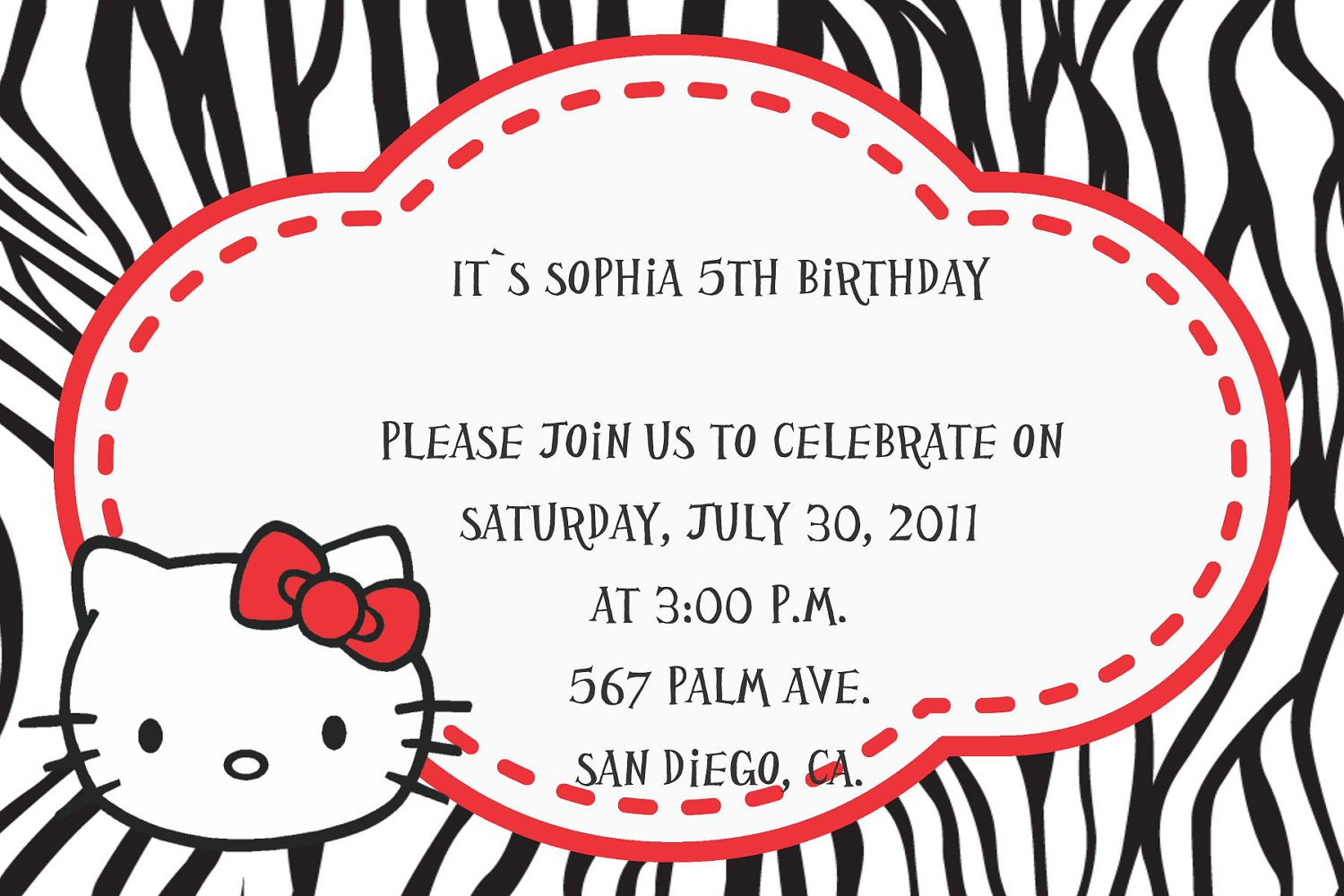 Printable Hello Kitty Party Invitations Free