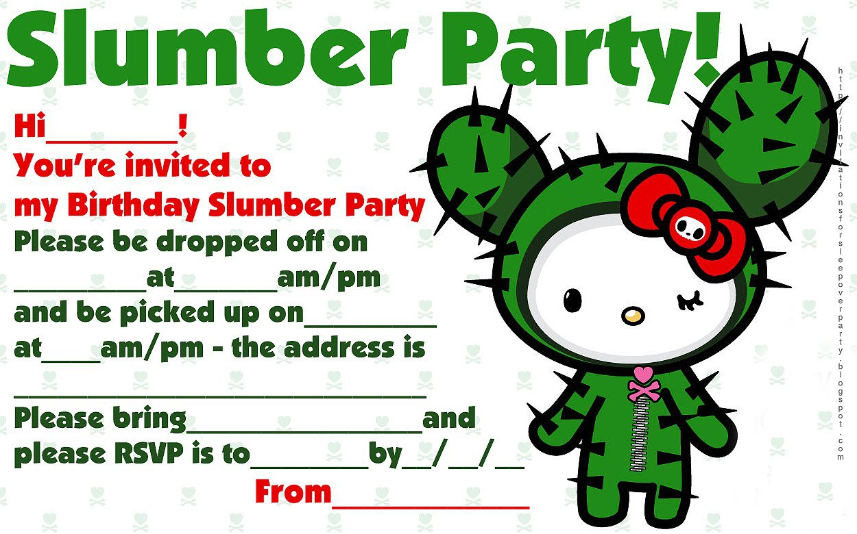 Printable Hello Kitty Sleepover Invitations