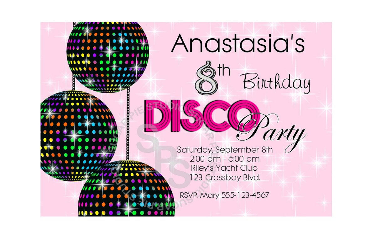 Printable Kids Disco Party Invitations