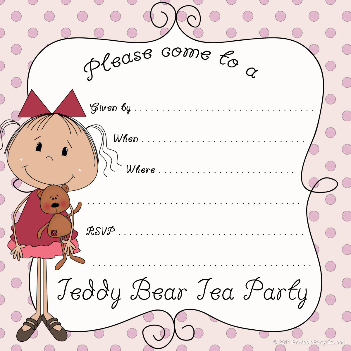 Printable Kids Tea Party Invitations 2015