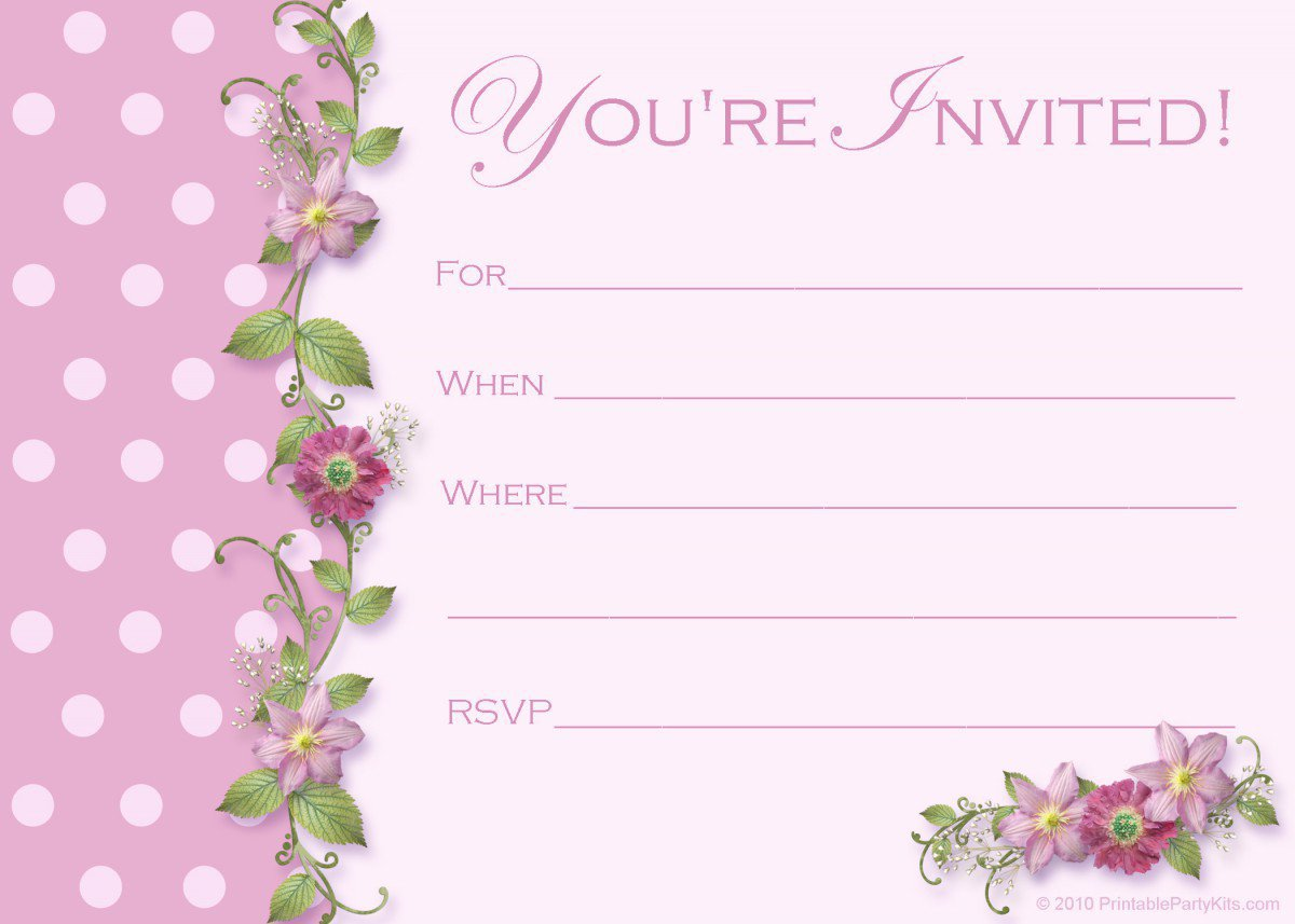 Printable Kids Tea Party Invitations 2016
