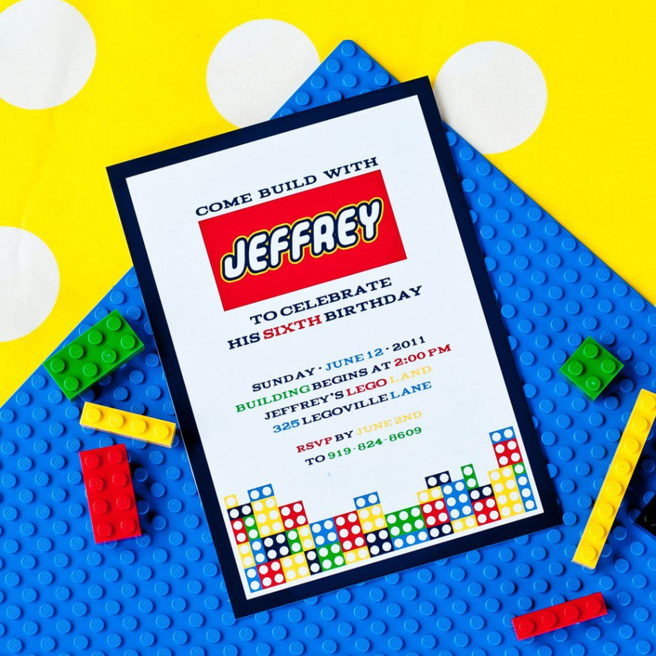 Printable Lego Invitation Cards 2015