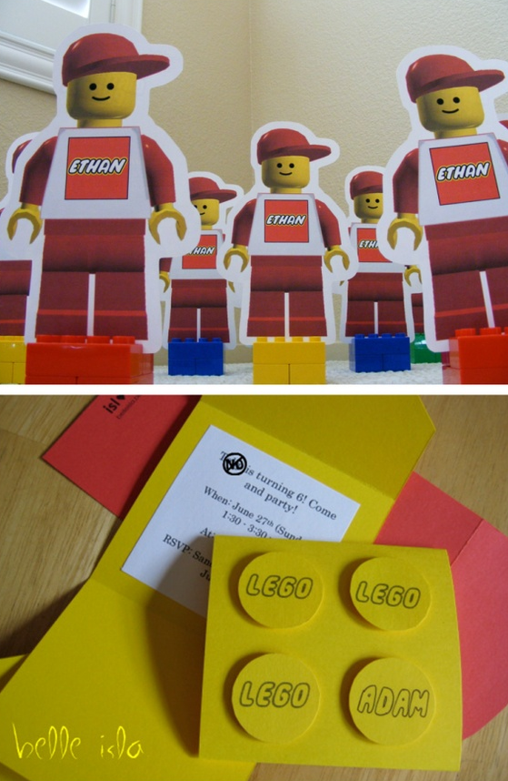 printable lego invitation cards