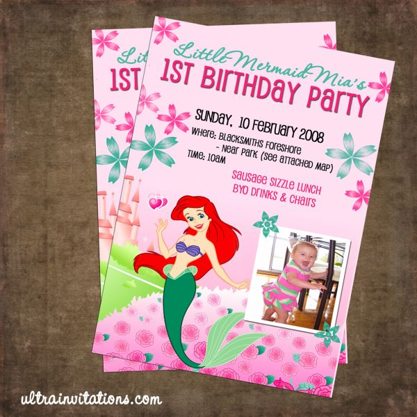 Printable Little Mermaid Party Invitations 2016