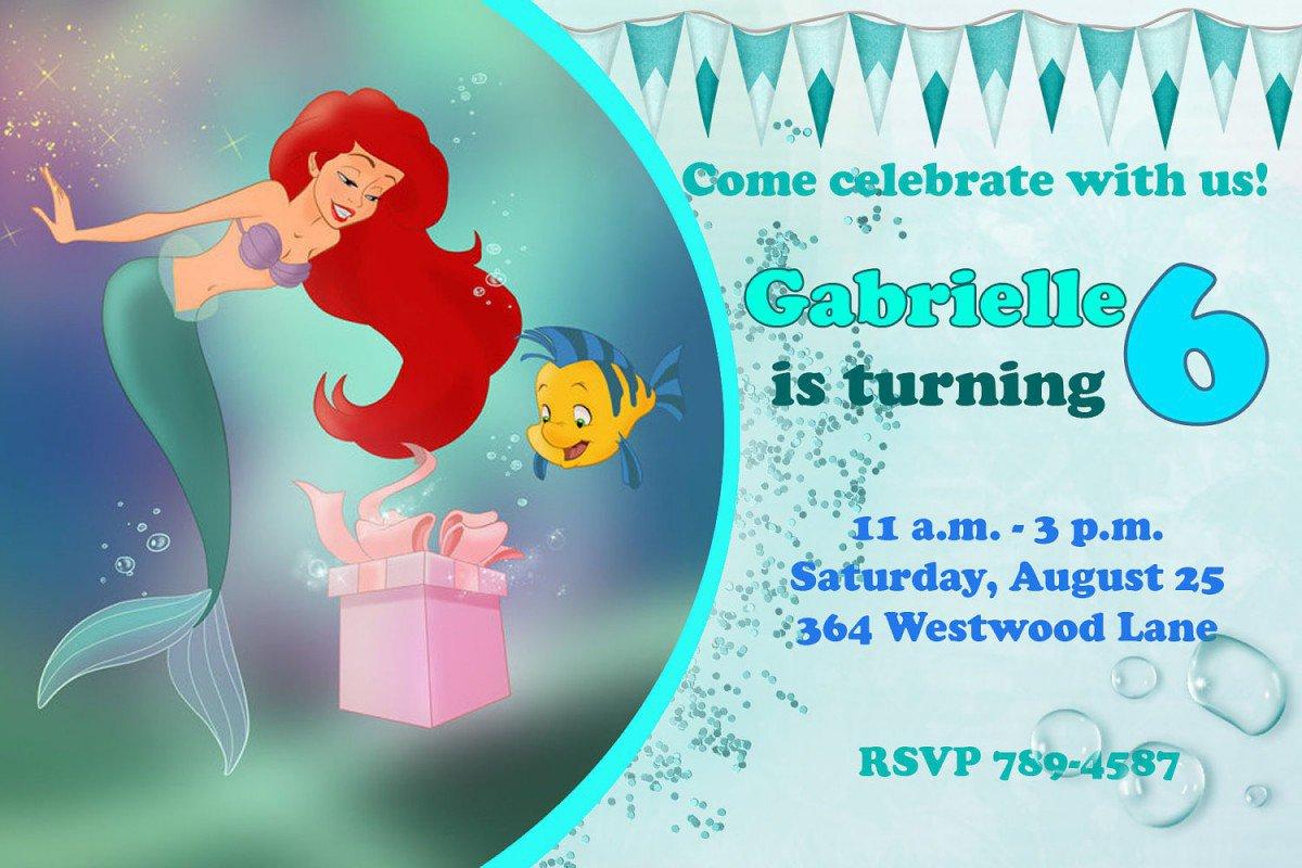 Printable Little Mermaid Party Invitations 2017