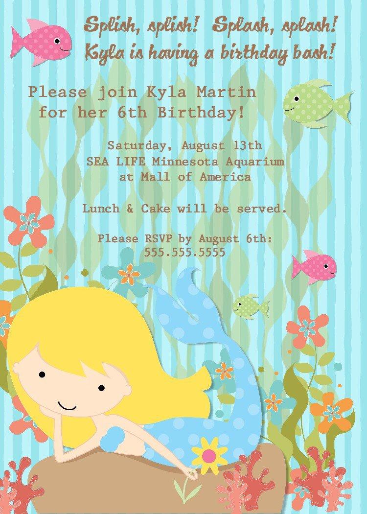 Printable Little Mermaid Party Invitations 2018