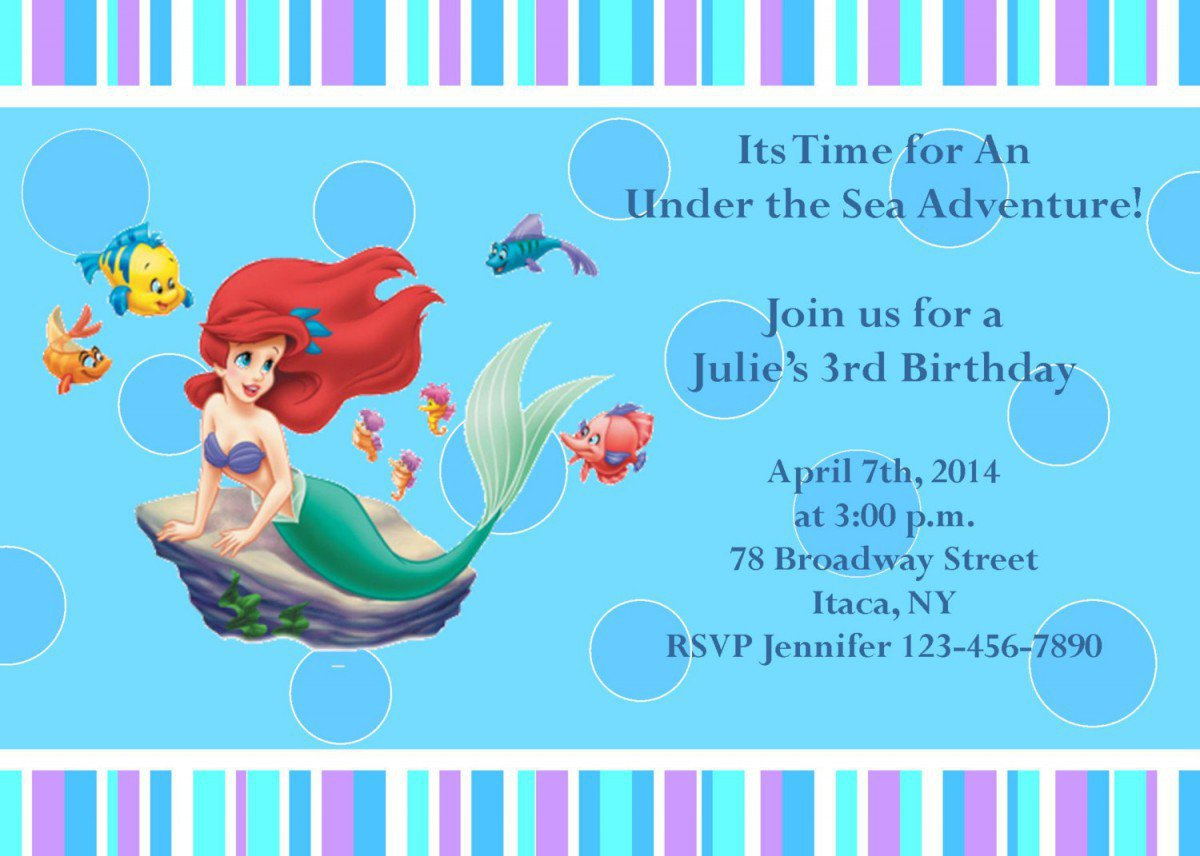 Printable Little Mermaid Party Invitations