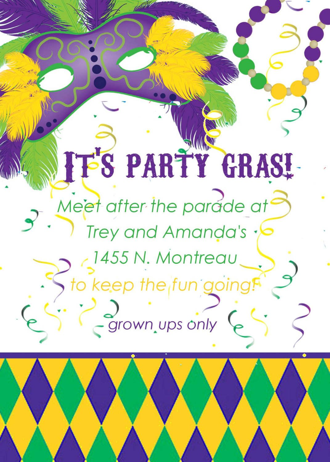 Printable Mardi Gras Mask Invitations