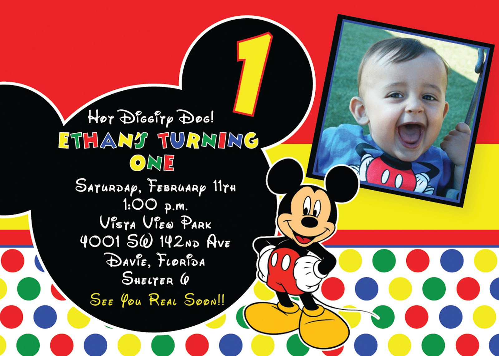 Printable Mickey Mouse Invitation Cards