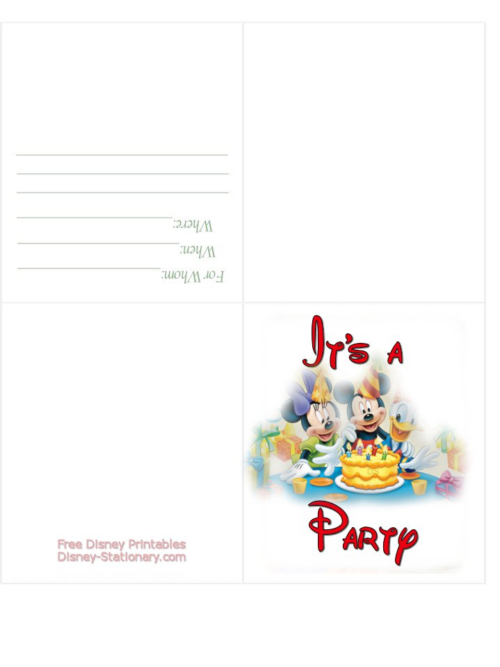 Printable Mickey Mouse Invitations 2017