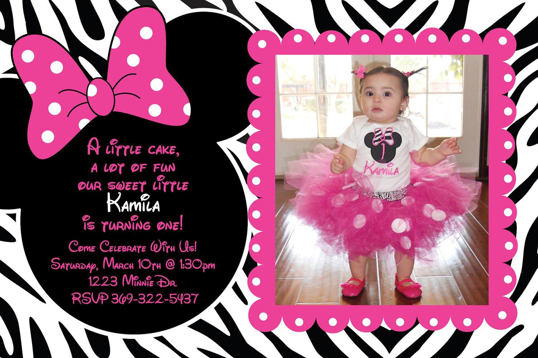 Printable Minnie Mouse Zebra Invitations