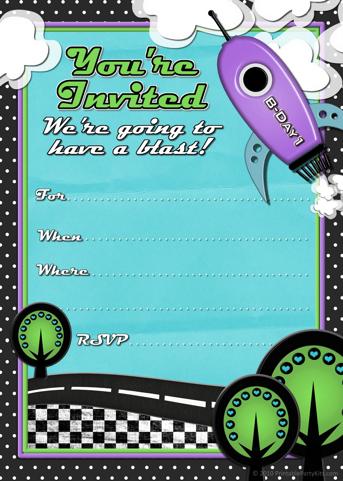 Printable Party Invitations For Boys