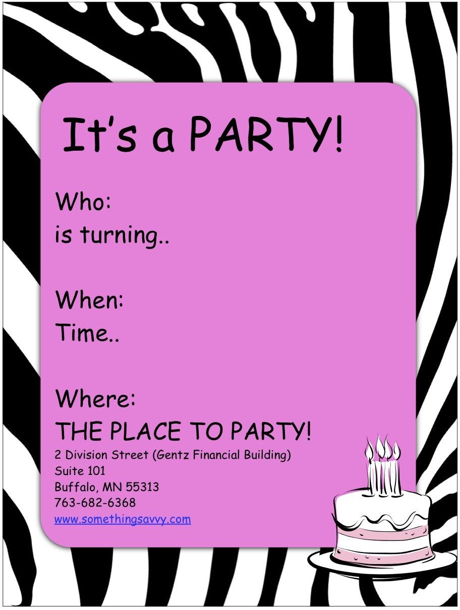 Printable Party Invitations For Girls