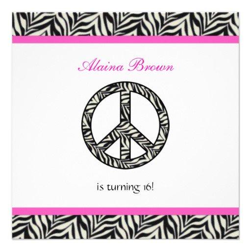 Printable Peace Sign Birthday Invitations 2015
