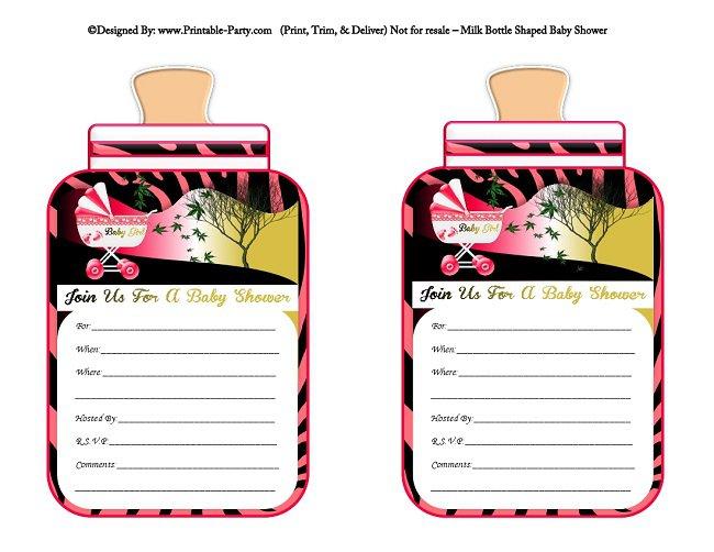 Printable Pink Zebra Print Invitations 2017