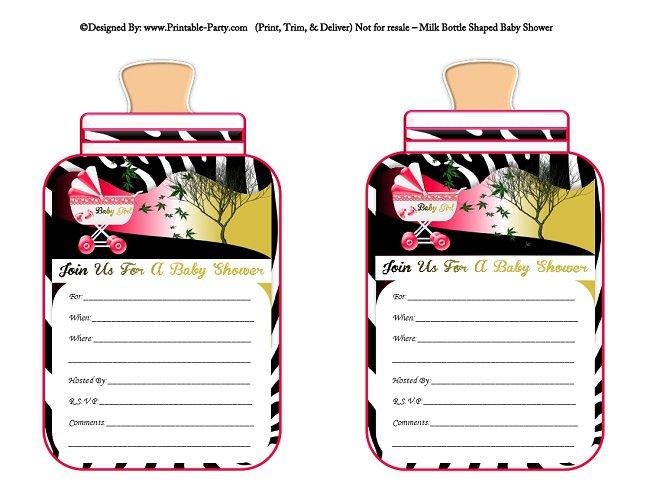 Printable Pink Zebra Print Invitations