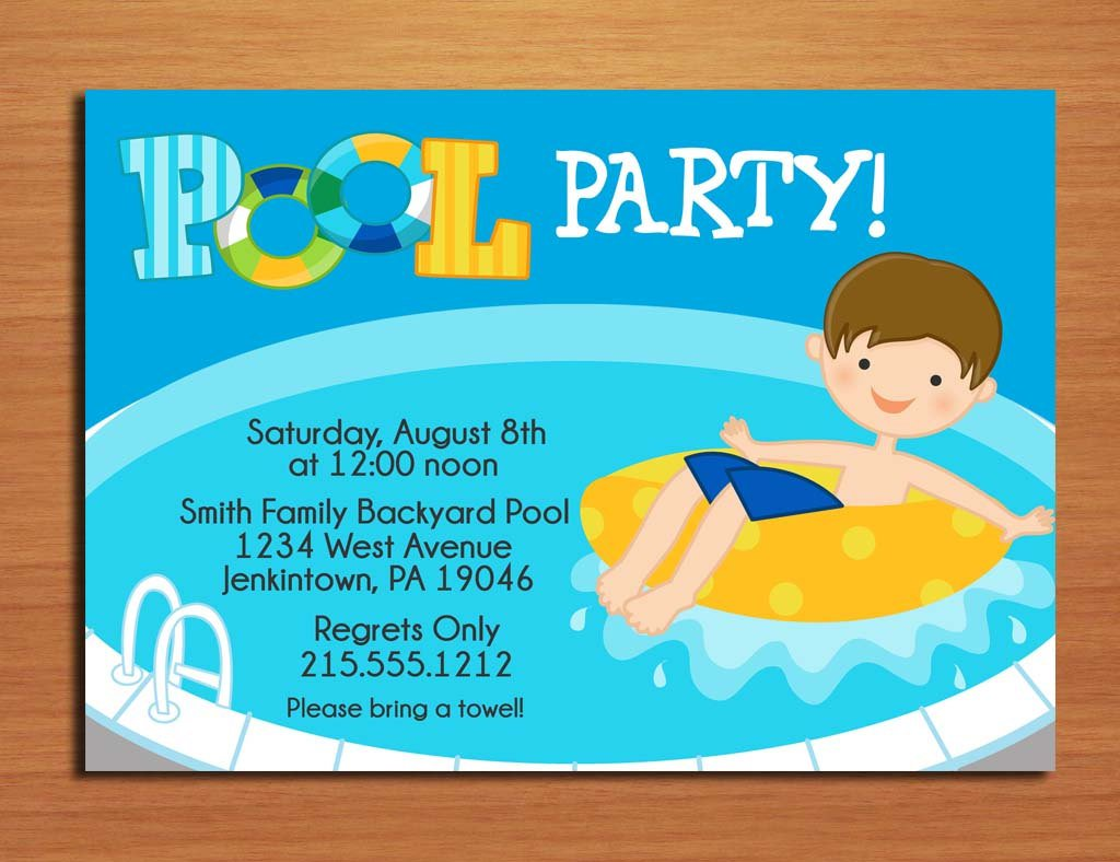 Printable Pool Party Invitations For Boys
