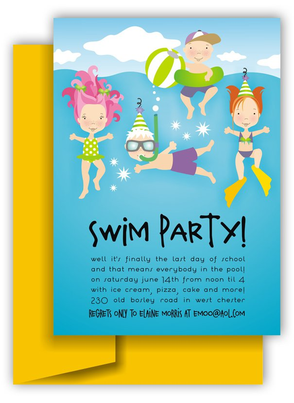 Printable Pool Party Invitations Free Kids 2018