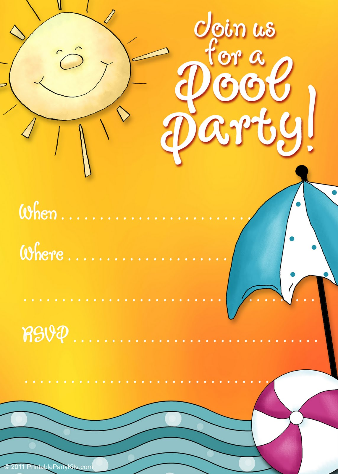 Printable Pool Party Invitations Templates