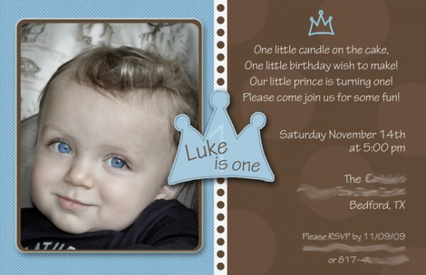 Printable Prince 1st Birthday Invitations – Prince 1st Birthday Invitations