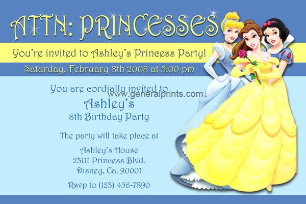Printable Princess Birthday Invitations Free 2016