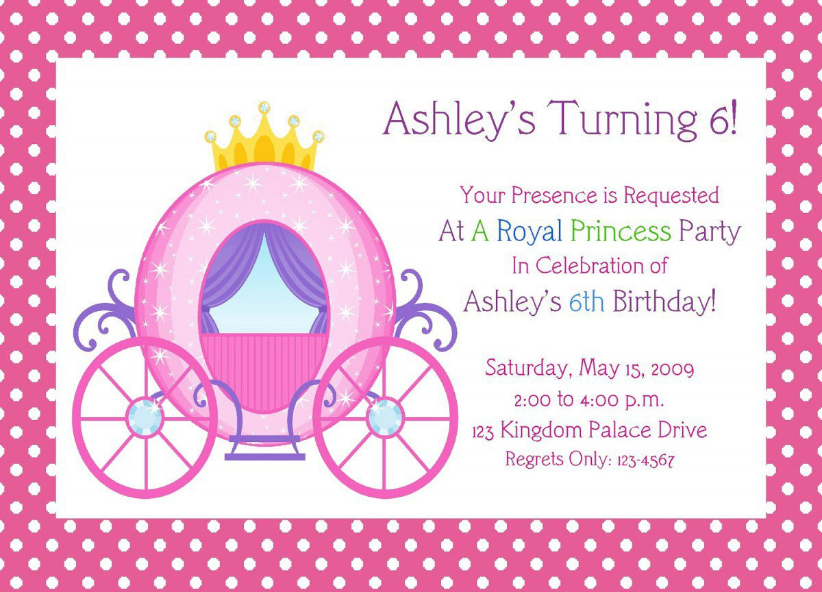 Printable Princess Birthday Invitations Free 2017