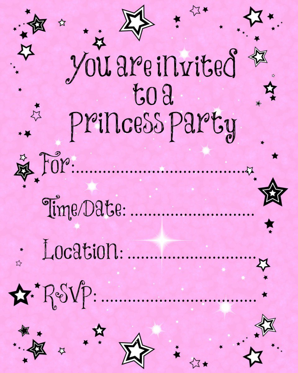 Printable Princess Invitation Template 2015