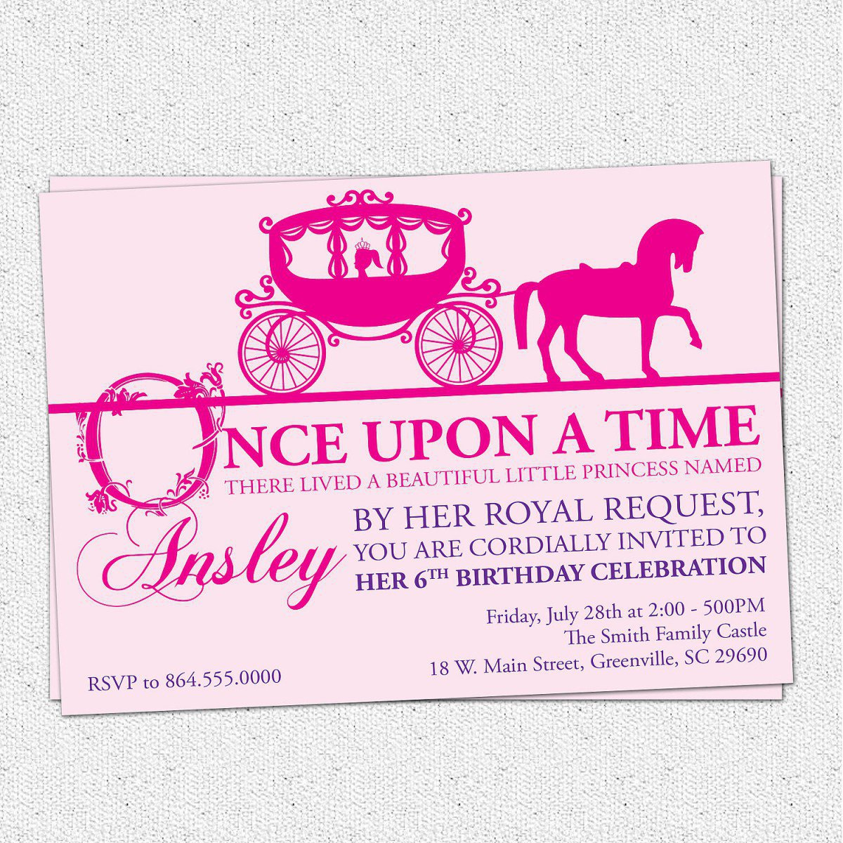 Printable Princess Invitation Template 2016