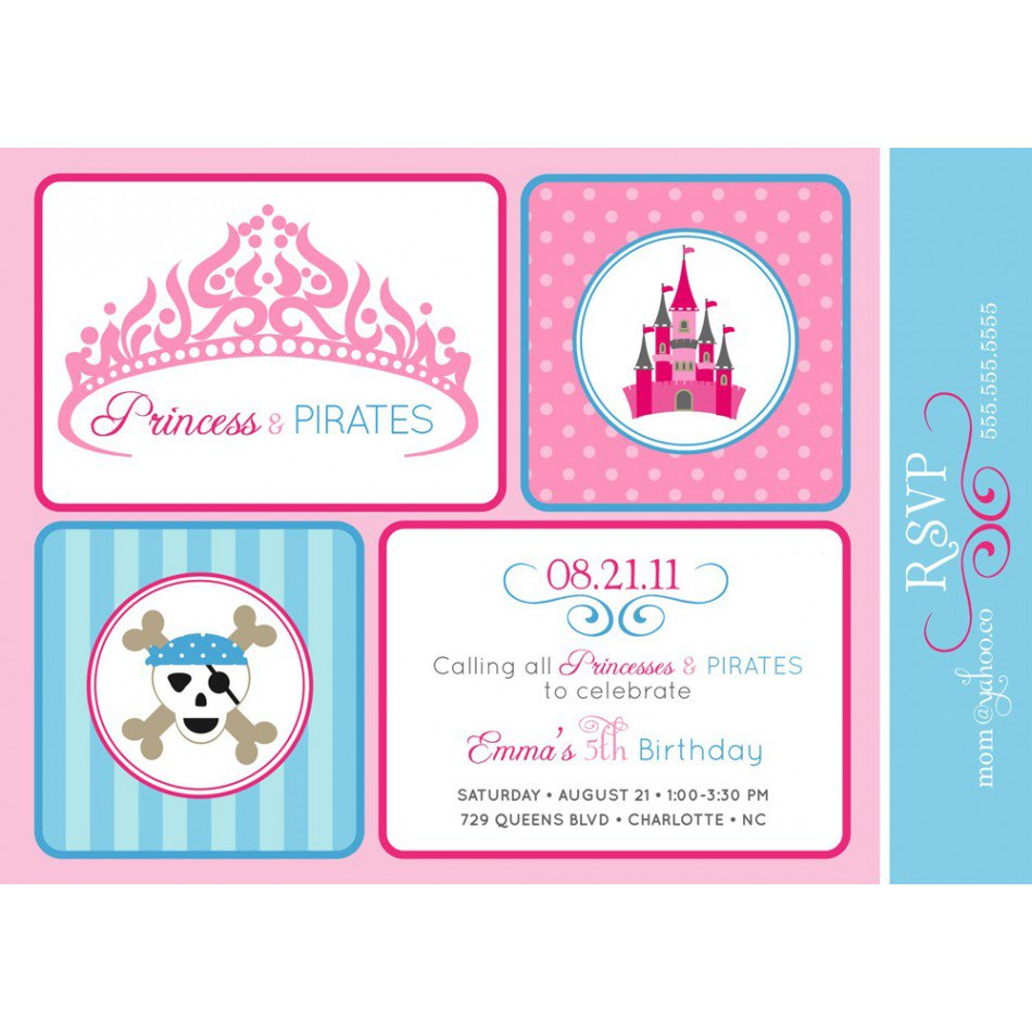 Printable Princess Pirate Party Invitations