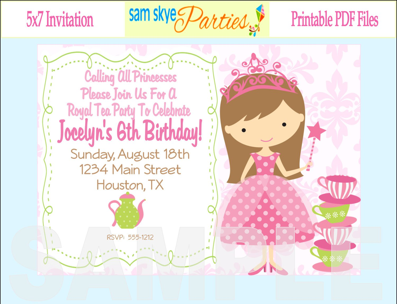 Printable Princess Tea Party Invitations
