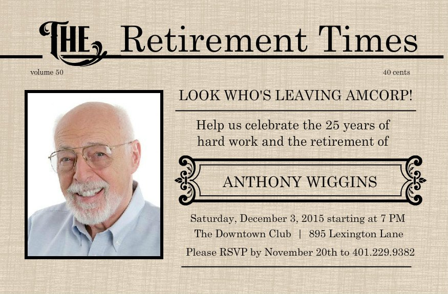 Printable Retirement Party Invitations Ideas Free 2015