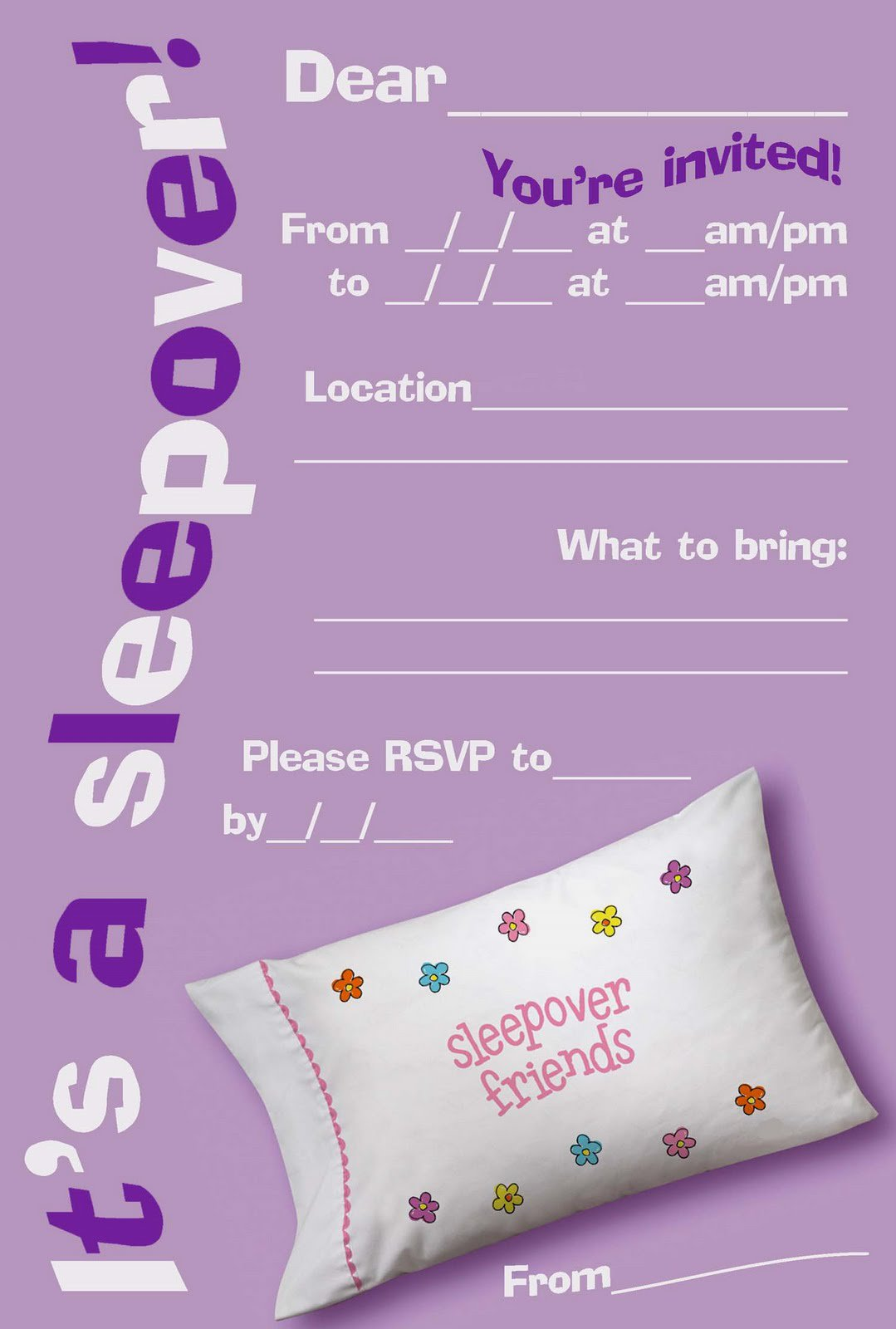 Printable Sleepover Birthday Invitations For Girls