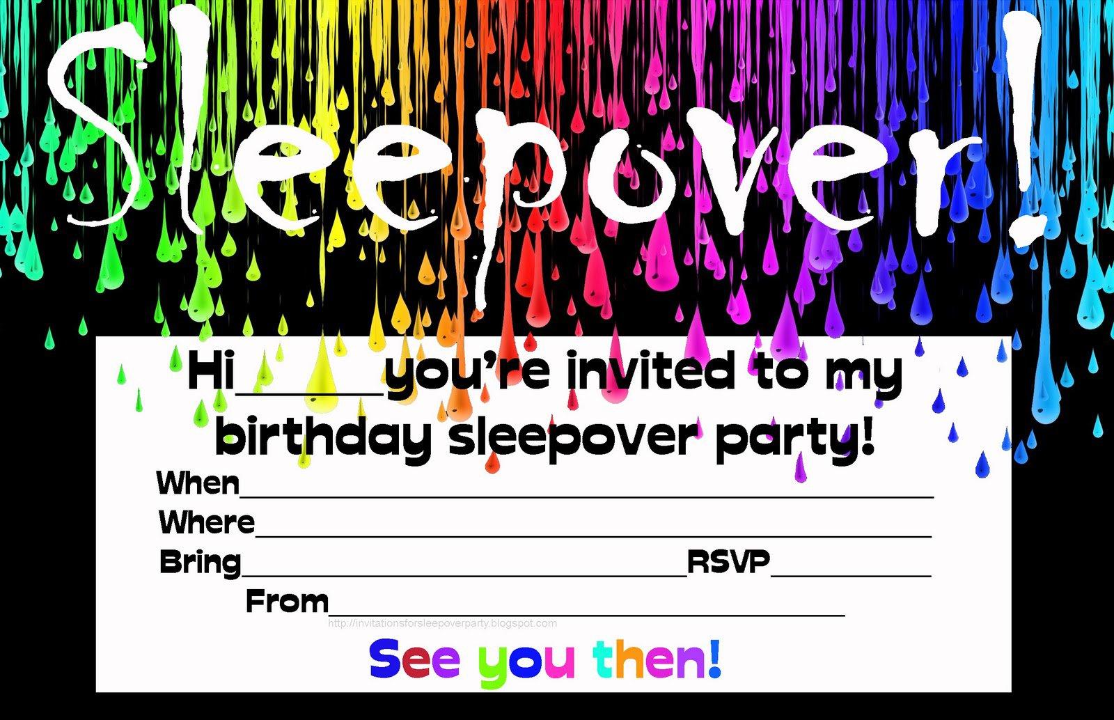 Printable Sleepover Invitations Cards