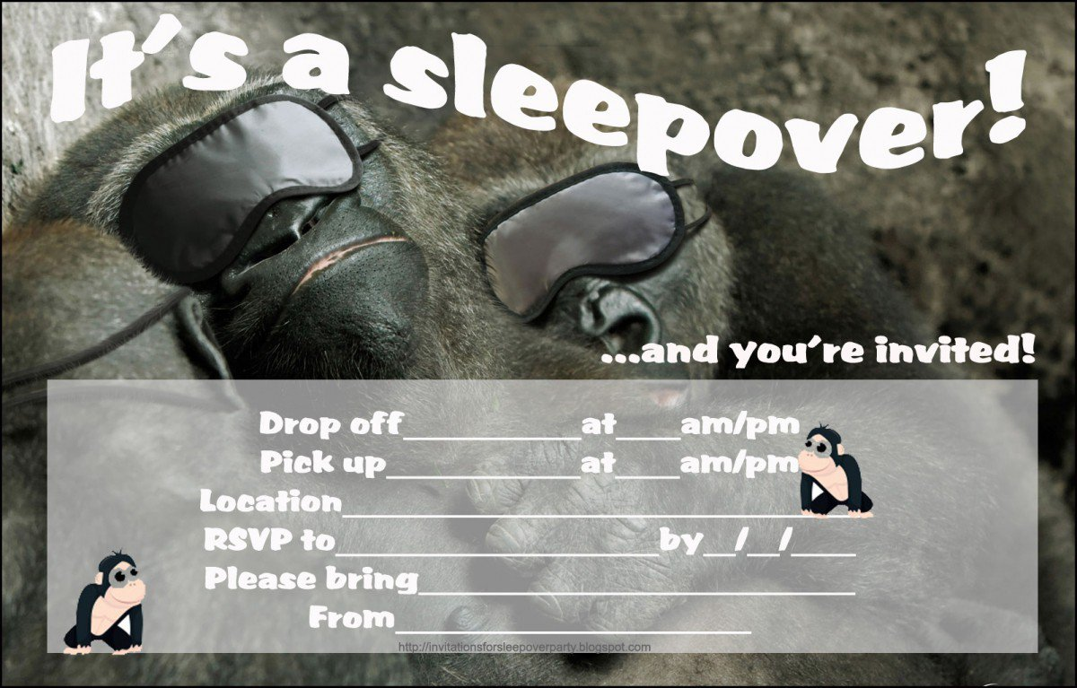 Printable Sleepover Invitations For Boys 2015
