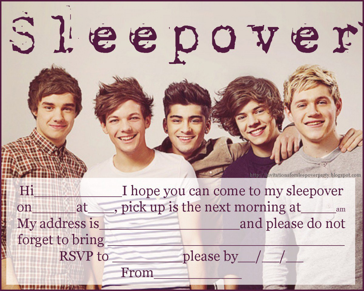 Printable Sleepover Invitations For Girls Free 2015