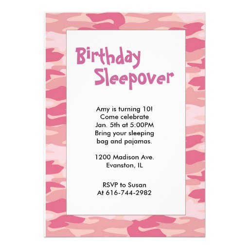 Printable Sleepover Invitations For Girls Free 2017