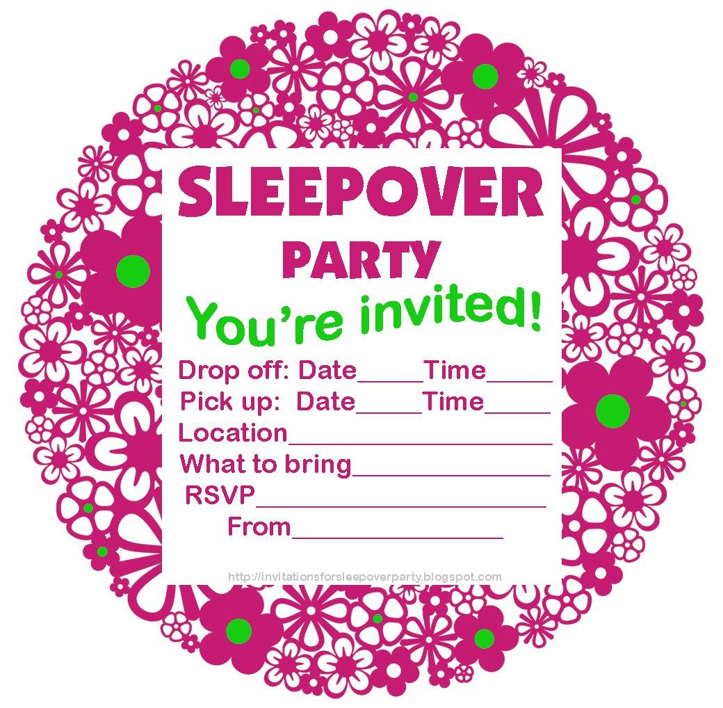 Printable Slumber Party Invitations