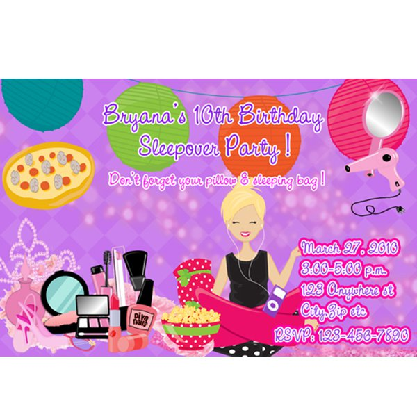 Printable Slumber Party Invitations For Girls 2018