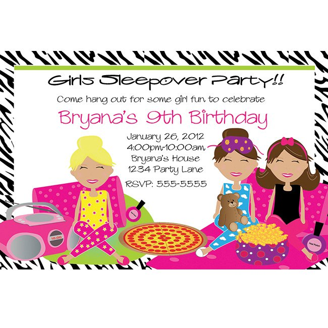 Printable Slumber Party Invitations For Girls