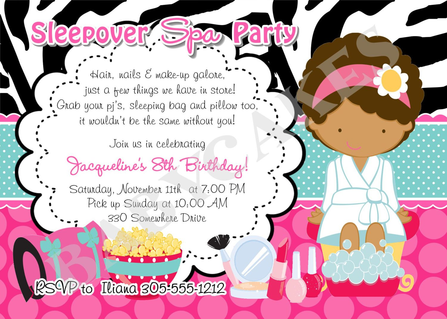 Printable Spa Sleepover Invitations