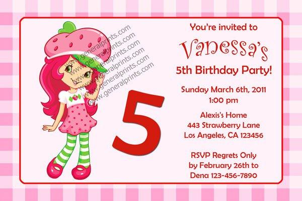 Printable Strawberry Shortcake Birthday Invitations 2017