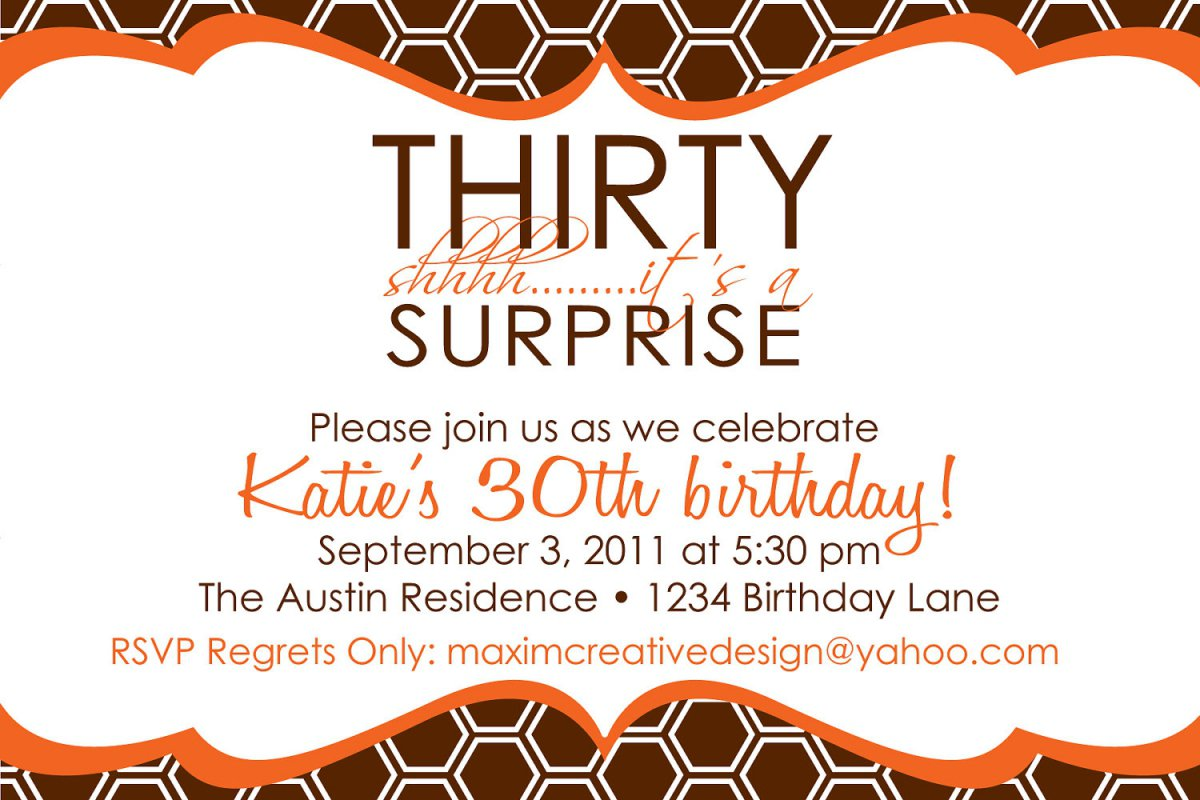 Printable Surprise 30th Birthday Invitations