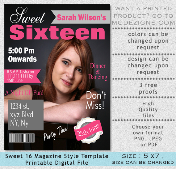Printable Sweet 16 Birthday Invitations 2016