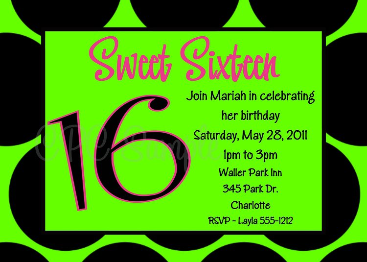 Printable Sweet 16 Birthday Invitations 2018