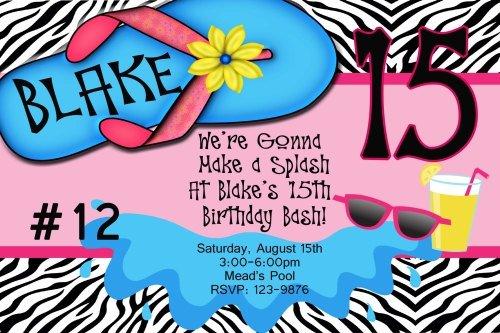 Printable Swim Party Invitations 2015