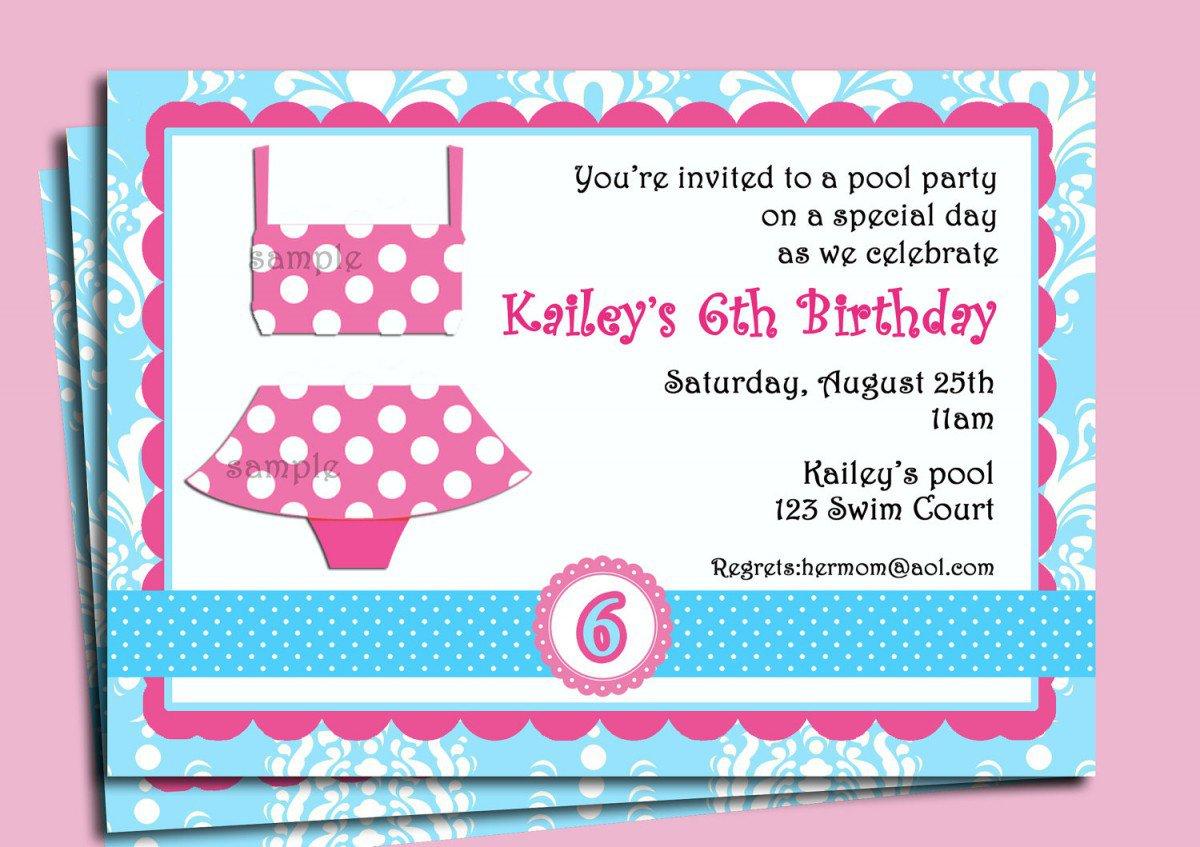 Printable Swim Party Invitations 2016