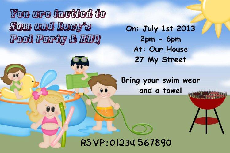 Printable Swim Party Invitations 2018