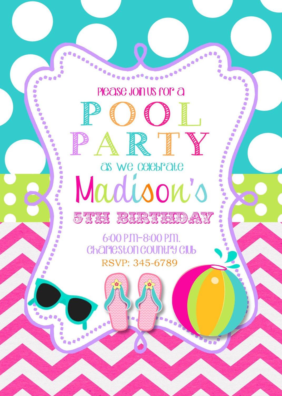 Printable Swim Party Invitations